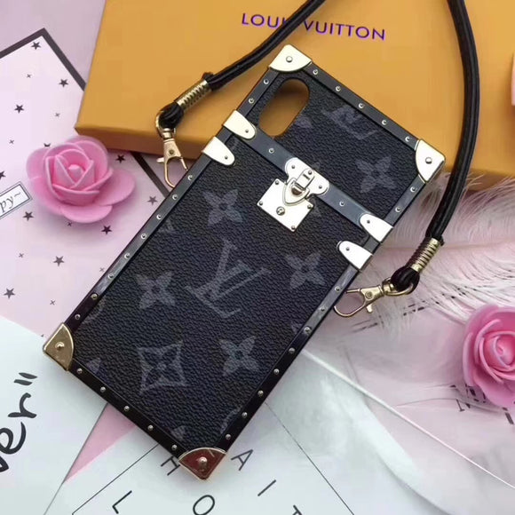 Soft Frame Black Letters Leather Trunk Style Case iPhone XR XS XS Max