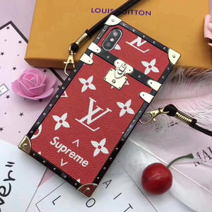 Soft Frame Red Leather Trunk Style iPhone XR XS XS Max - Shop Louis Vuitton, Gucci & Hermes phone cases for iPhone & Samsung!