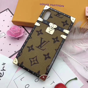 Soft Frame Light Brown Leather Trunk Style Case iPhone XR XS XS Max - Shop Louis Vuitton, Gucci & Hermes phone cases for iPhone & Samsung!