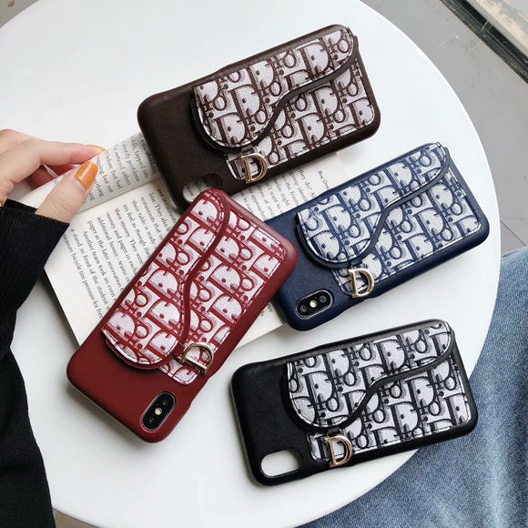 2019 Arrival Case Leather With Canvas Card Bag iPhone 7 8 Plus X Xr Xs Xs Max 11 Pro Max