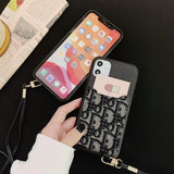 Black Leather Canvas Card Holder Strap  Case Back Cover iPhone 11/ Pro/ Max