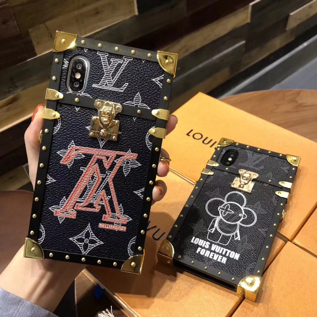 pretty nice 7e849 68aed Black Leather Red Letter Hard Metal Frame Trunk Case iPhone XR XS XS Max