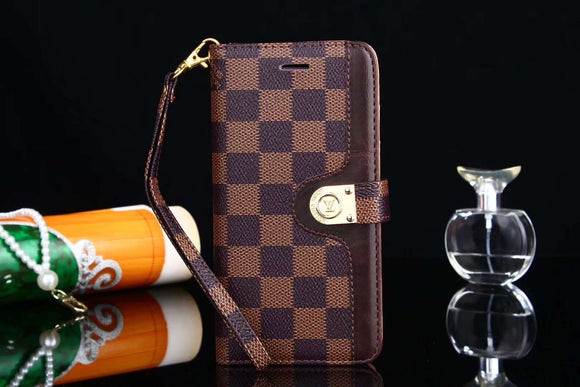 Brown Squares Folio Wallet Leather Case Cover iPhone XR XS XS Max - Shop Louis Vuitton, Gucci & Hermes phone cases for iPhone & Samsung!