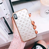 Gloss Leather Back Cover For iPhone 6 7 8 Plus X - Shop Louis Vuitton, Gucci & Hermes phone cases for iPhone & Samsung!