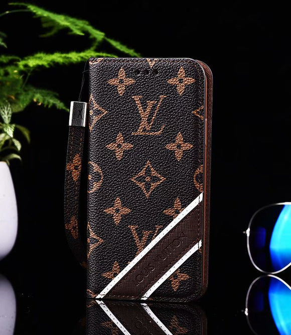Brown Stripe Accent Leather Wallet Case iPhone 6 7 8 Plus X - Shop Louis Vuitton, Gucci & Hermes phone cases for iPhone & Samsung!