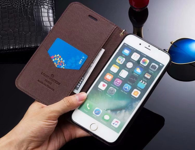 sports shoes 6e740 6458e Brown Squares Accent Leather Wallet Case For iPhone XR XS XS Max