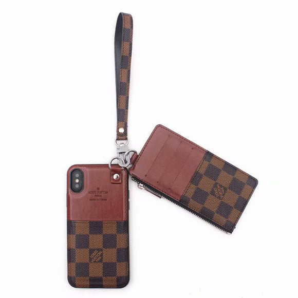 Brown Squares  Leather Multi Function Case Wallet iPhone XR XS XS max