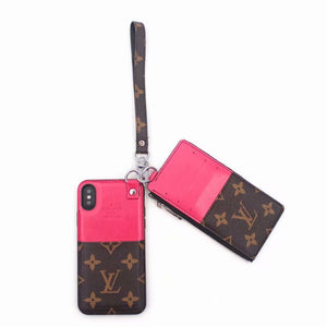 Brown Pink Leather Multi Function Case Wallet iPhone XR XS XS max - Shop Louis Vuitton, Gucci & Hermes phone cases for iPhone & Samsung!