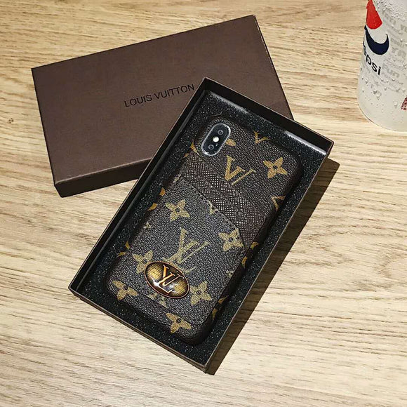 Brown Leather Front Card Slot Case iPhone 6 7 8 Plus X - Shop Louis Vuitton, Gucci & Hermes phone cases for iPhone & Samsung!