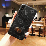 Black Leather Duel Card Slot Case iPhone XR XS XS Max