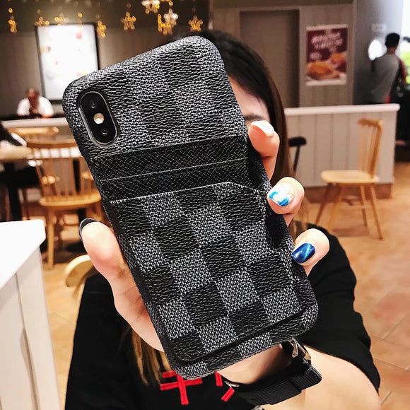 Black Squares Leather Card Slot Case iPhone XR XS XS Max
