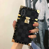 Black Squares Hard Metal Frame Trunk Case iPhone XR XS XS Max - Shop Louis Vuitton, Gucci & Hermes phone cases for iPhone & Samsung!