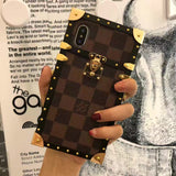 Brown Squares Leather Hard Metal Frame Trunk Case iPhone XR XS XS Max