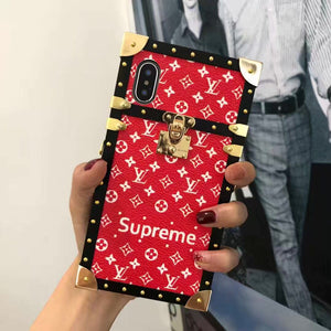 Red Leather Small Letters Hard Metal Frame Trunk Case iPhone XR XS XS Max - Shop Louis Vuitton, Gucci & Hermes phone cases for iPhone & Samsung!