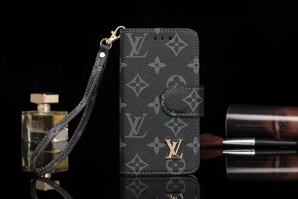 Black Base Leather Folio Wallet Case iPhone XR XS XS Max - Shop Louis Vuitton, Gucci & Hermes phone cases for iPhone & Samsung!