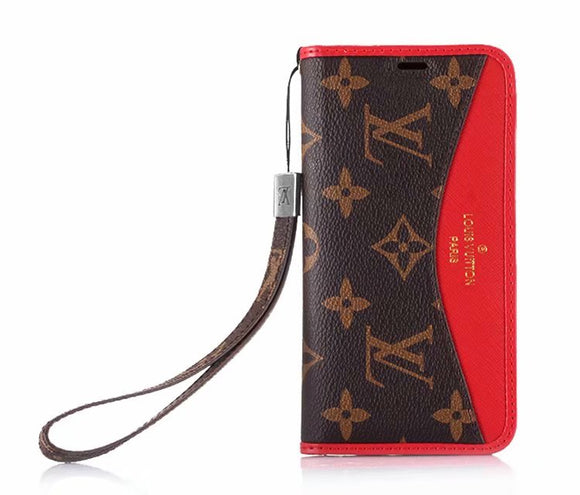 Red Leather Accent Case Cover iPhone XR XS XS MAX - Shop Louis Vuitton, Gucci & Hermes phone cases for iPhone & Samsung!