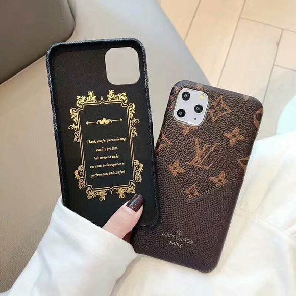 Brown Accent Leather Card Slot  Cover Case iPhone 11 /11 Pro/11 Pro max /12 /12 Mini / 12 Pro/ 12 Pro Max