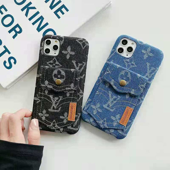 Denim Fabric Card Slot  Back Cover Case  iPhone 11 / 11 Pro/ 11 Pro Max/ 12 /12Mini / 12 Pro / 12 Pro Max
