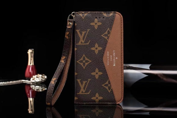 Brown Accent Leather Wallet Case iPhone XR XS XS MAX - Shop Louis Vuitton, Gucci & Hermes phone cases for iPhone & Samsung!