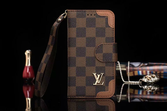 Brown Leather Accent Edges Wallet Case iPhone XR XS XS MAX - Shop Louis Vuitton, Gucci & Hermes phone cases for iPhone & Samsung!