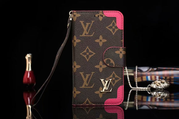 Brown Leather Pink Edges Wallet Case iPhone XR XS XS MAX - Shop Louis Vuitton, Gucci & Hermes phone cases for iPhone & Samsung!