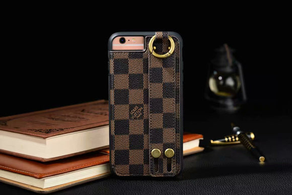 Brown Squares Leather Hand Belt Cover Case iPhone 6 7 8 Plus X