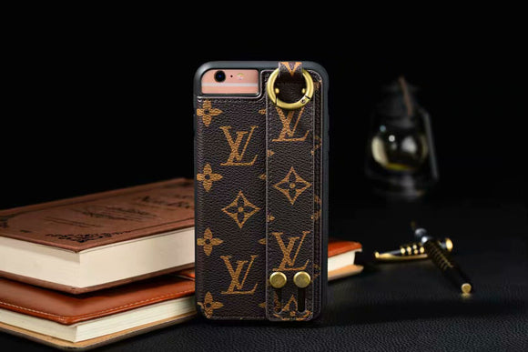 Brown Leather Hand Belt Cover Case iPhone 6 7 8 Plus X