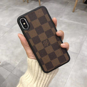 Brown Squares Back Cover Case For Iphone 7 8 Plus X XR XS XS Max