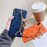 2019 New Arrival Leather L Chain  Back Cover Case Iphone 7 8 Plus X XR XS XS XSmax - Shop Louis Vuitton, Gucci & Hermes phone cases for iPhone & Samsung!