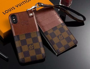 Brown Squares Card Slot Case Cover iPhone 6 7 8 Plus X - Shop Louis Vuitton, Gucci & Hermes phone cases for iPhone & Samsung!