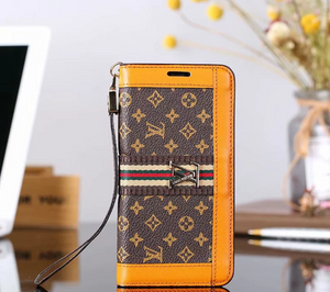 Brown Orange Accent Wallet Case Cover iPhone XR XS XS MAX - Shop Louis Vuitton, Gucci & Hermes phone cases for iPhone & Samsung!