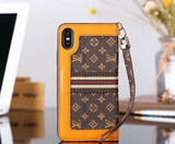 Brown Orange Accent Wallet Case Cover iPhone XR XS XS MAX