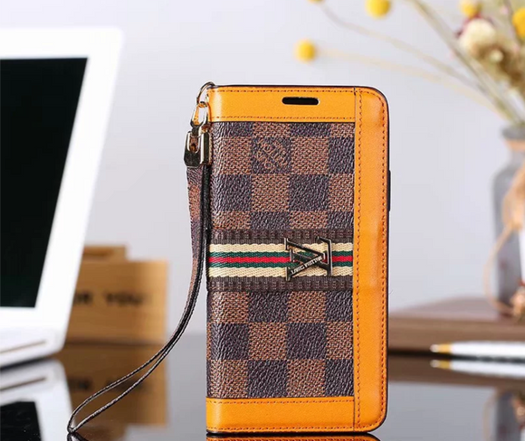 Brown Squares Orange Accent Wallet Case Cover iPhone XR XS XS MAX - Shop Louis Vuitton, Gucci & Hermes phone cases for iPhone & Samsung!