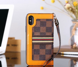 Brown Squares Orange Accent Wallet Case Cover iPhone XR XS XS MAX