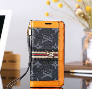 Black Orange Accent Wallet Case Cover iPhone XR XS XS MAX - Shop Louis Vuitton, Gucci & Hermes phone cases for iPhone & Samsung!
