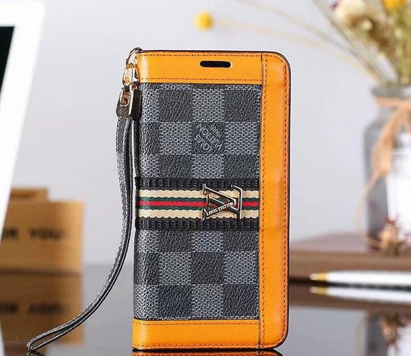 Black Squares Orange Accent Wallet Case Cover iPhone XR XS XS MAX
