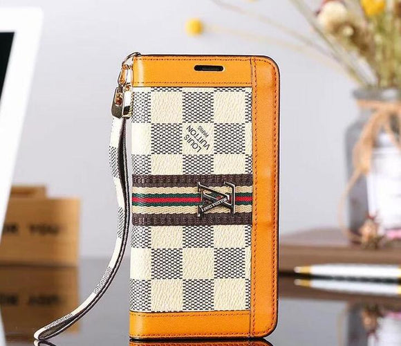 Squares Orange Accent Wallet Case Cover iPhone XR XS XS MAX - Shop Louis Vuitton, Gucci & Hermes phone cases for iPhone & Samsung!