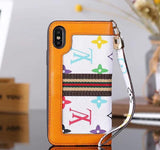 White Orange Accent Wallet Case Cover iPhone XR XS XS MAX