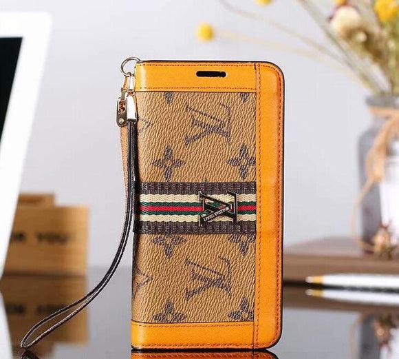 Coffee Orange Accent Wallet Case Cover iPhone XR XS XS MAX - Shop Louis Vuitton, Gucci & Hermes phone cases for iPhone & Samsung!