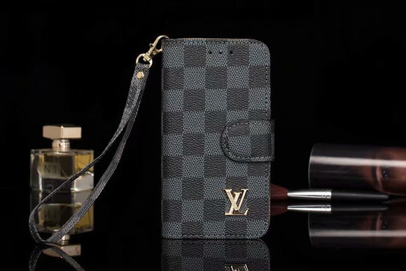 Black Square Leather Folio Wallet Case iPhone XR XS XS Max - Shop Louis Vuitton, Gucci & Hermes phone cases for iPhone & Samsung!