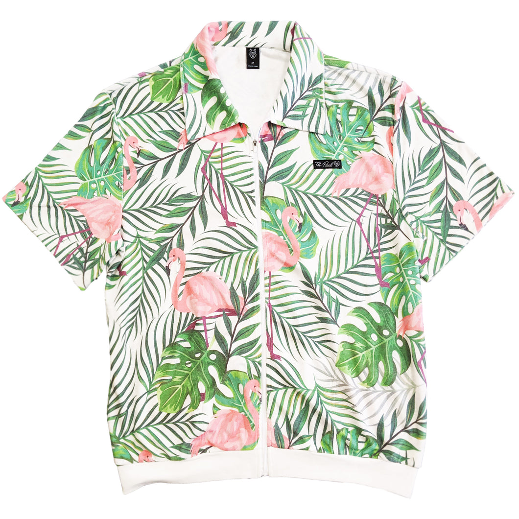 Flocked Up Zip Up Shirt