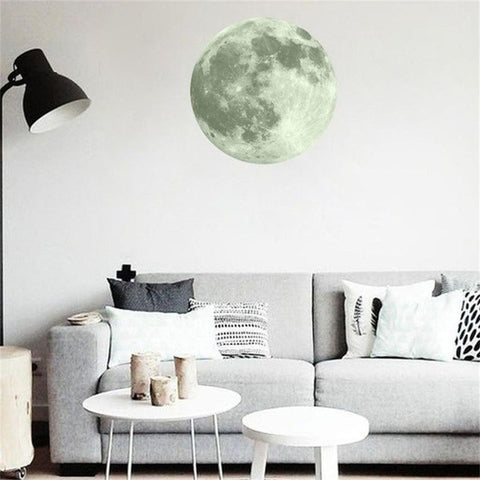 40cm 3D Large Moon Fluorescent Wall Sticker
