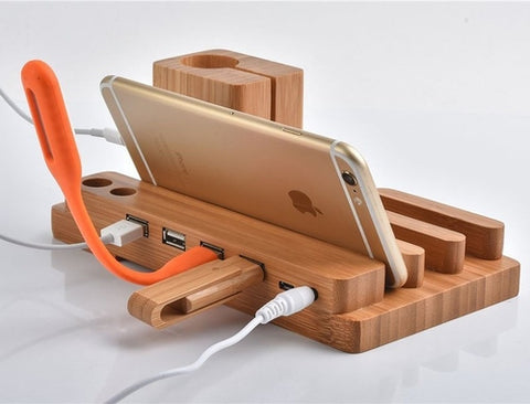 Wooden USB HUB Charging Stand Station