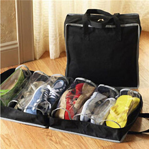 6 Slots Portable Shoes Travel Storage Bag Zipper
