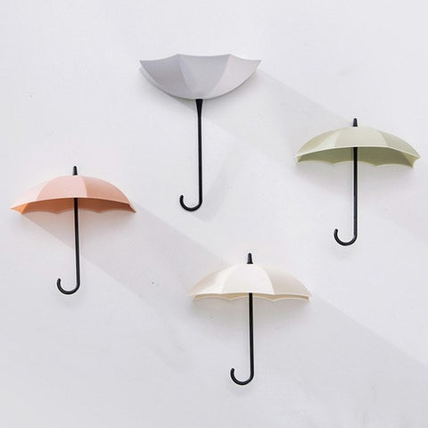 6pcs Cute Umbrella Wall Mount Key Holder Wall Hook