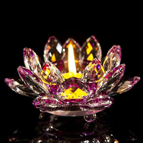 7 Colors Lotus Crystal Glass Lotus Flower Candle