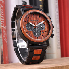Wood and Stainless Steel Watch