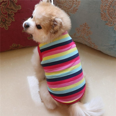 Pet Dog Clothing Cotton Stripe Vest Puppy Cotton