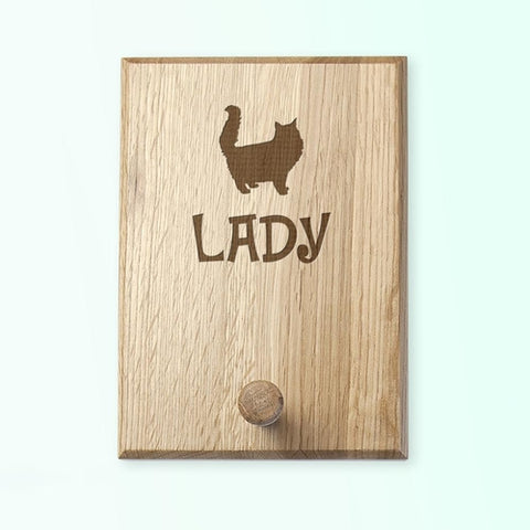 Personalised Cat Silhouette Peg Hook
