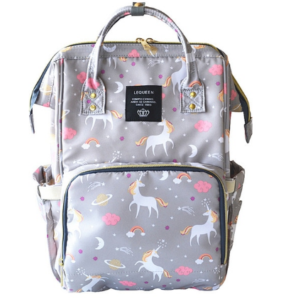 Nappy/Diapers changing baby bag - grey unicorn